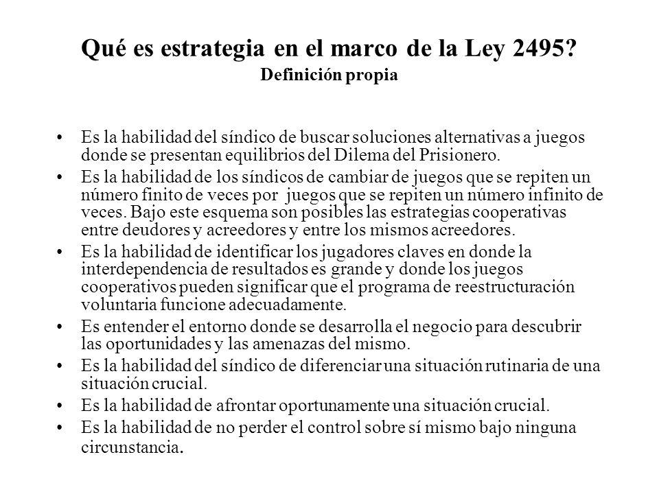 Qué es estrategia en el marco de la Ley 2495 Definición propia