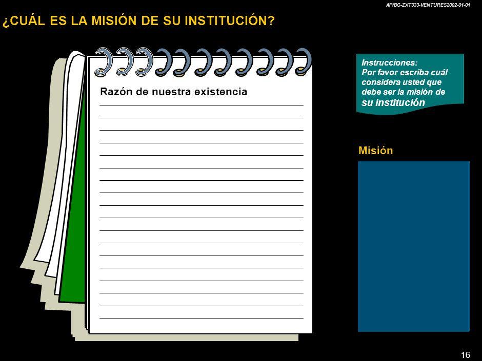 ¿CUÁL ES LA MISIÓN DE SU INSTITUCIÓN