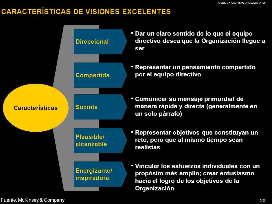 CARACTERÍSTICAS DE VISIONES EXCELENTES