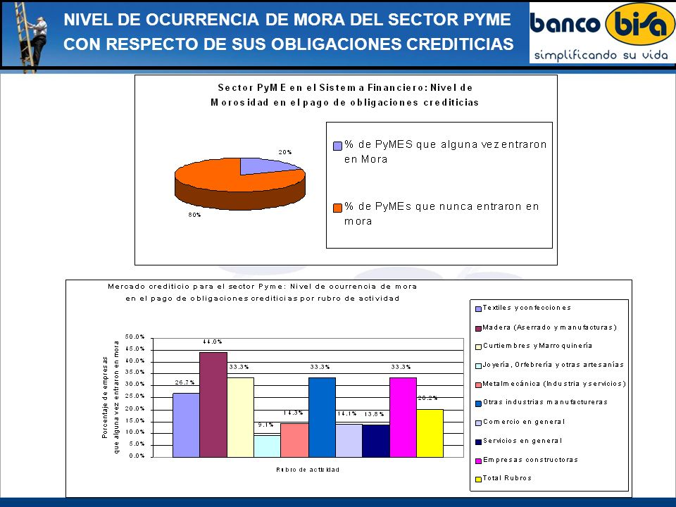 NIVEL DE OCURRENCIA DE MORA DEL SECTOR PYME