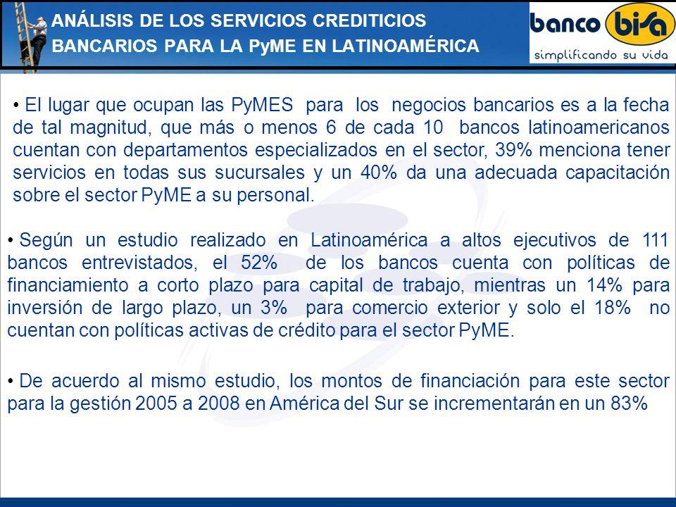 ANÁLISIS DE LOS SERVICIOS CREDITICIOS