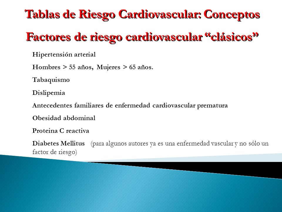 Tablas de Riesgo Cardiovascular: Conceptos