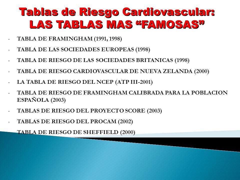 Tablas de Riesgo Cardiovascular: LAS TABLAS MAS FAMOSAS