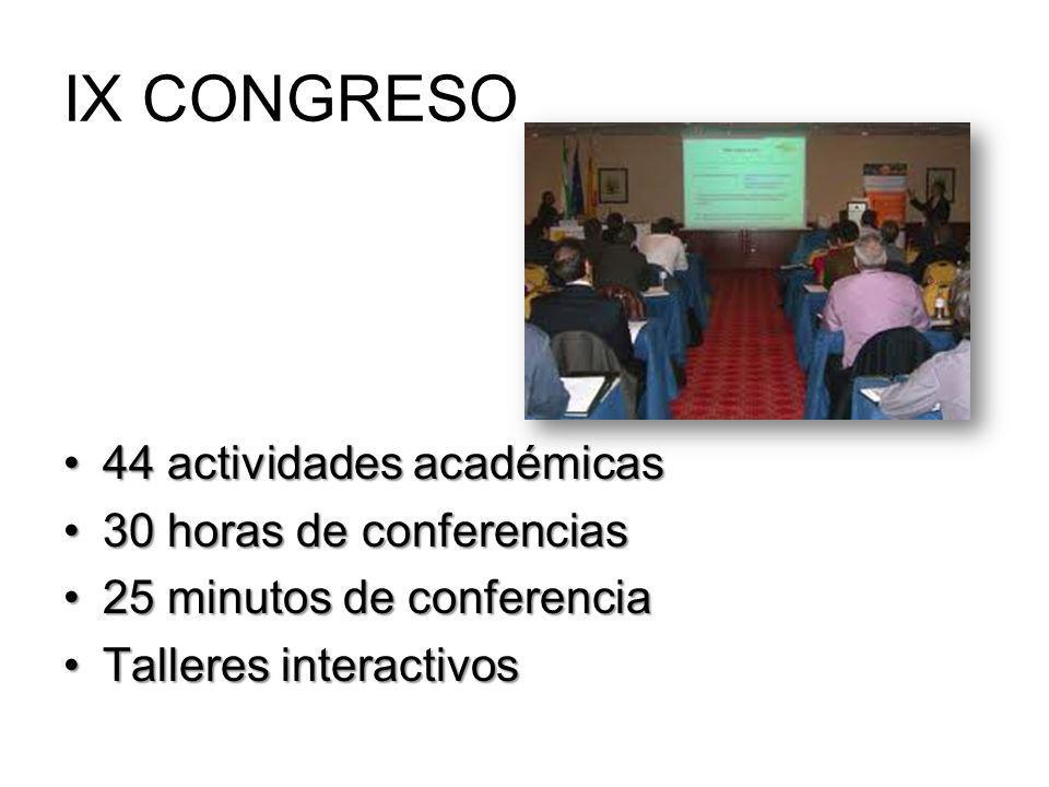 IX CONGRESO 44 actividades académicas 30 horas de conferencias