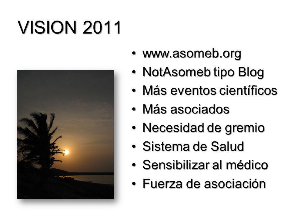 VISION 2011 www.asomeb.org NotAsomeb tipo Blog Más eventos científicos