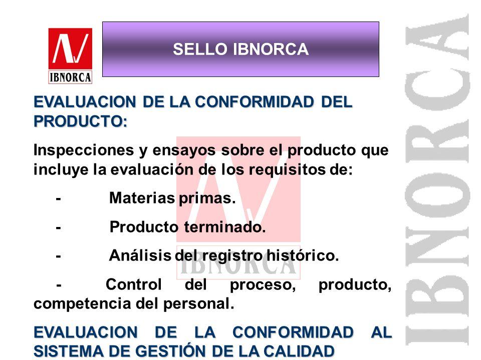 SELLO IBNORCA EVALUACION DE LA CONFORMIDAD DEL PRODUCTO: