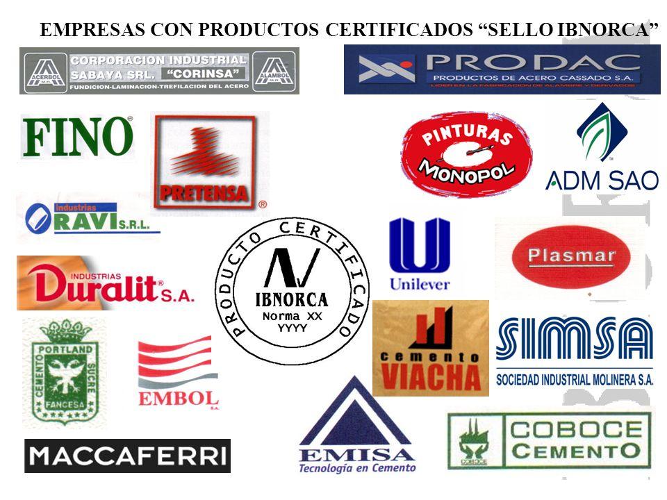 EMPRESAS CON PRODUCTOS CERTIFICADOS SELLO IBNORCA
