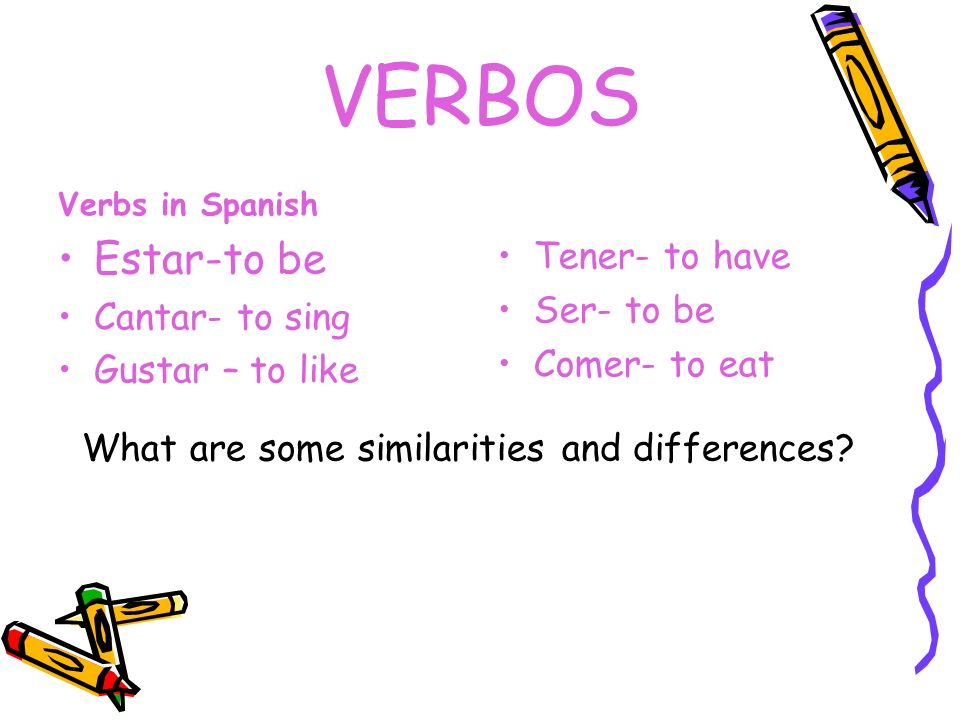 VERBOS Estar-to be Tener- to have Ser- to be Cantar- to sing