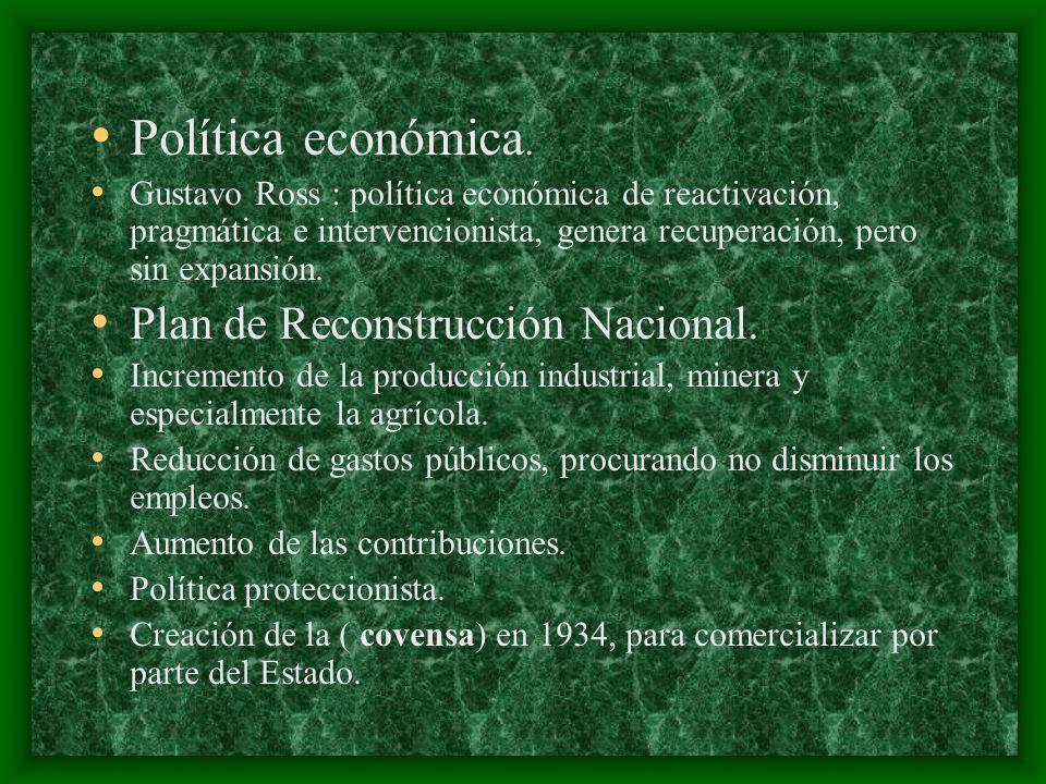 Política económica. Plan de Reconstrucción Nacional.