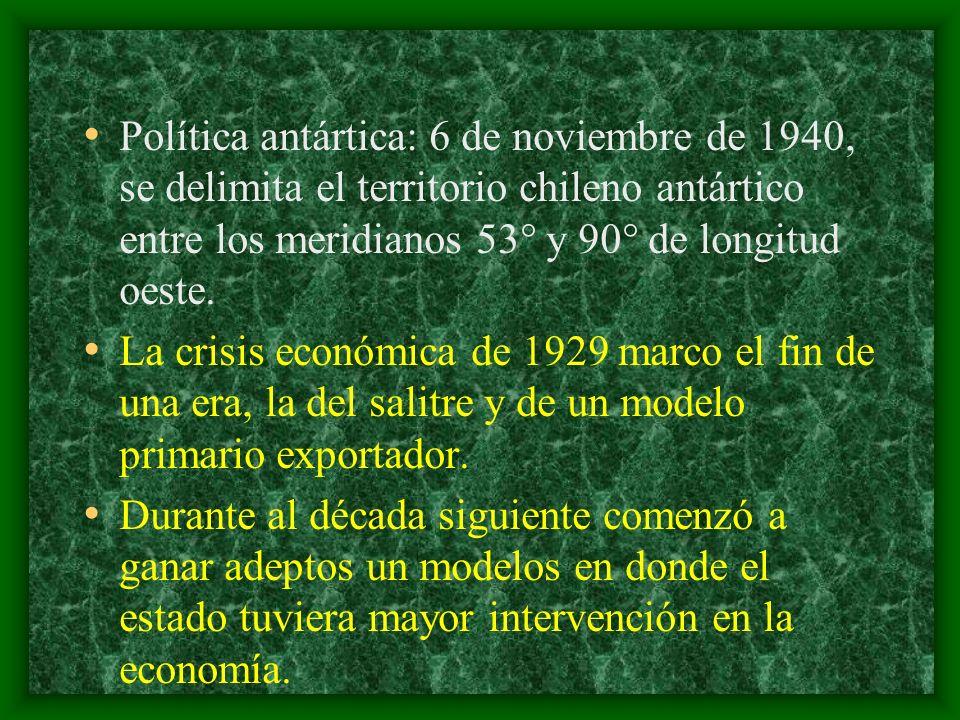 Política antártica: 6 de noviembre de 1940, se delimita el territorio chileno antártico entre los meridianos 53° y 90° de longitud oeste.