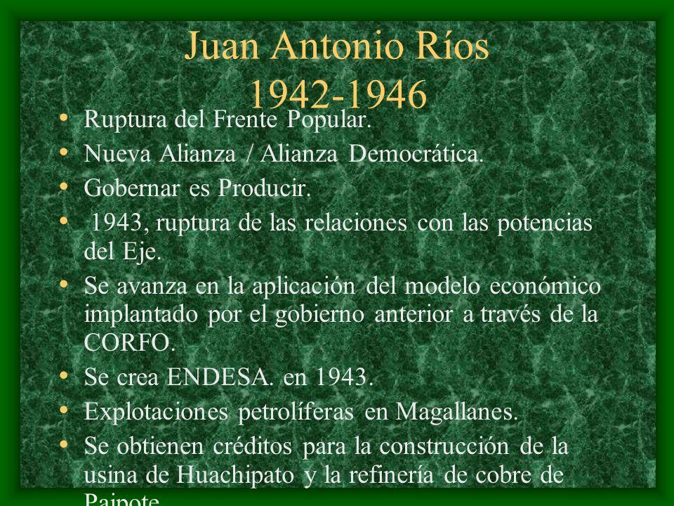 Juan Antonio Ríos 1942-1946 Ruptura del Frente Popular.