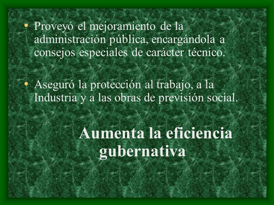 Aumenta la eficiencia gubernativa