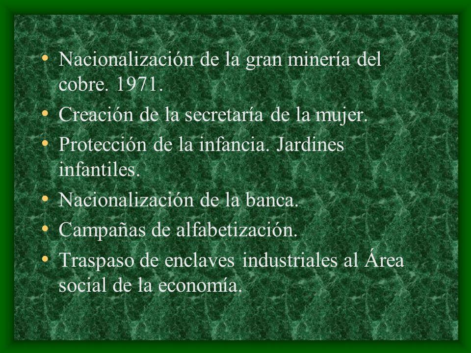 Nacionalización de la gran minería del cobre. 1971.