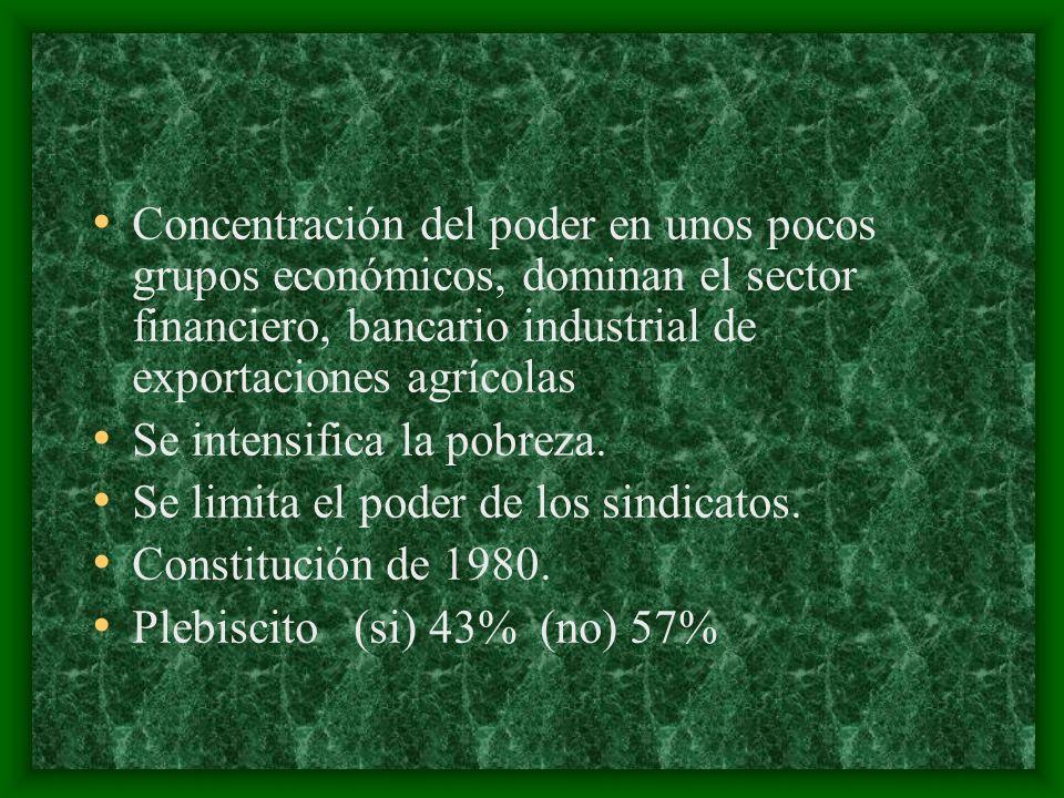 Concentración del poder en unos pocos grupos económicos, dominan el sector financiero, bancario industrial de exportaciones agrícolas