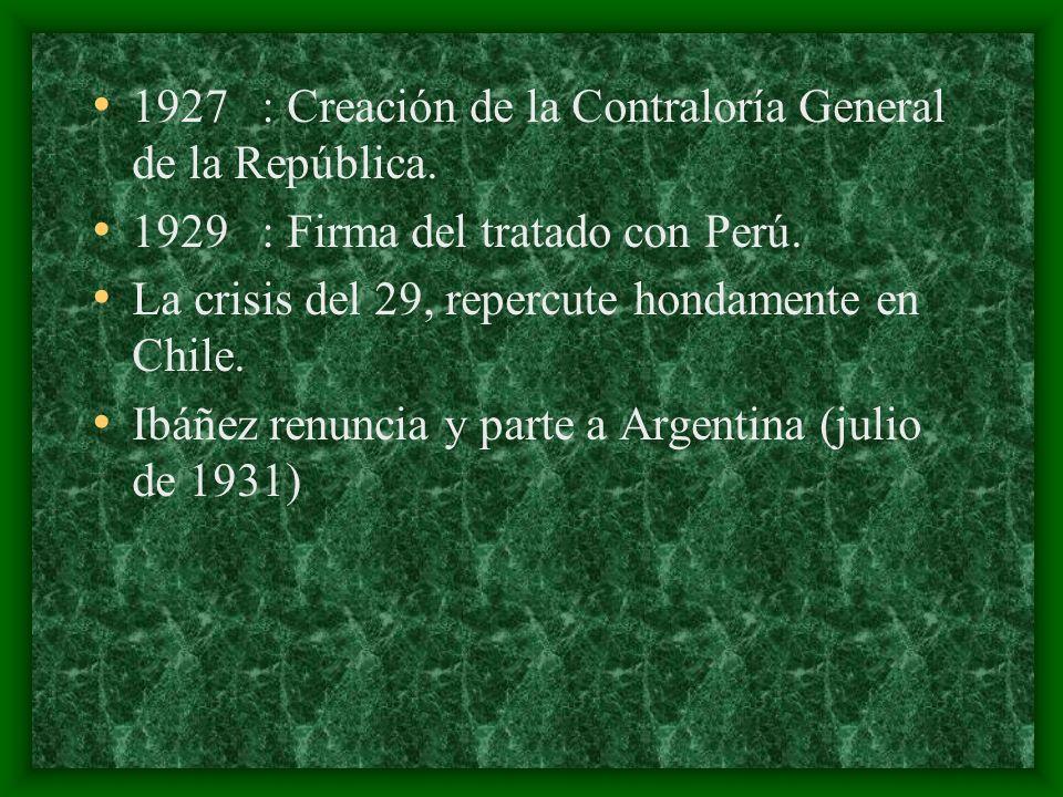 1927 : Creación de la Contraloría General de la República.