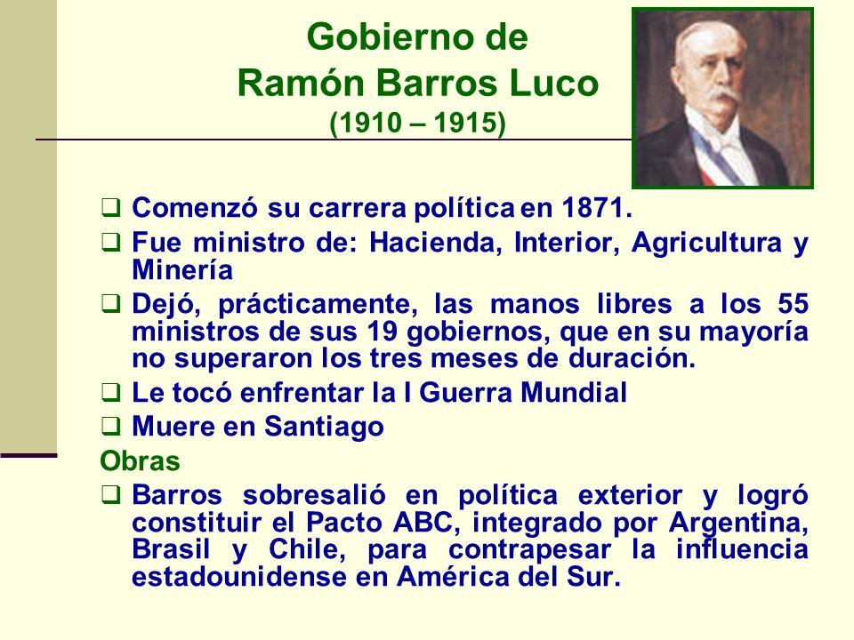 Gobierno de Ramón Barros Luco (1910 – 1915)