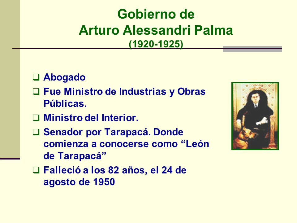 Gobierno de Arturo Alessandri Palma (1920-1925)