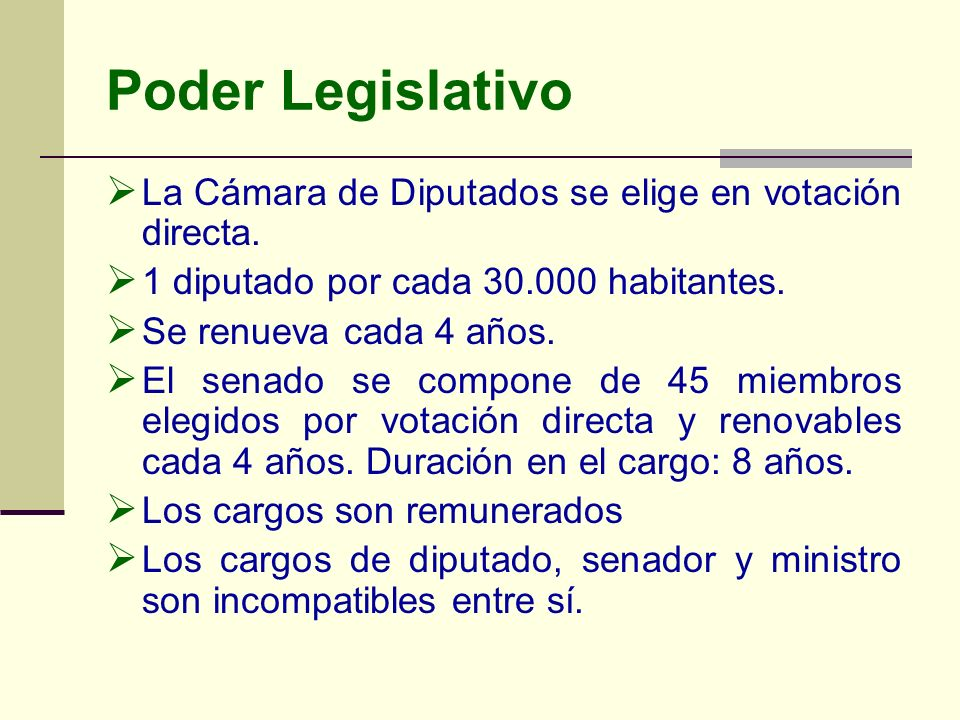 Poder Legislativo La Cámara de Diputados se elige en votación directa.