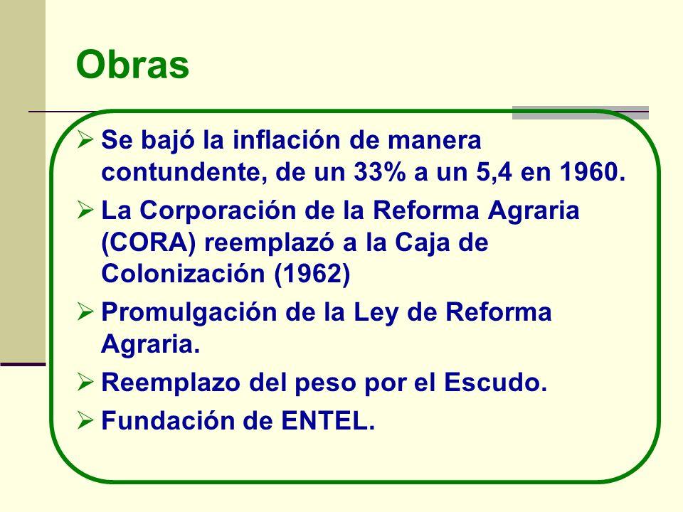 ObrasSe bajó la inflación de manera contundente, de un 33% a un 5,4 en 1960.