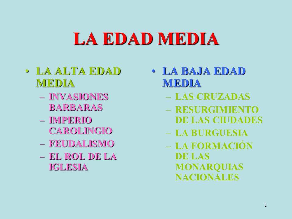 LA EDAD MEDIA LA ALTA EDAD MEDIA LA BAJA EDAD MEDIA