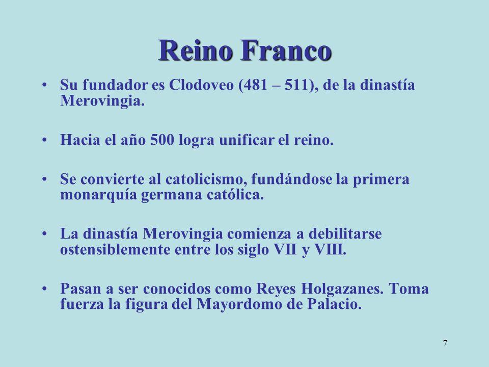 Reino Franco Su fundador es Clodoveo (481 – 511), de la dinastía Merovingia. Hacia el año 500 logra unificar el reino.