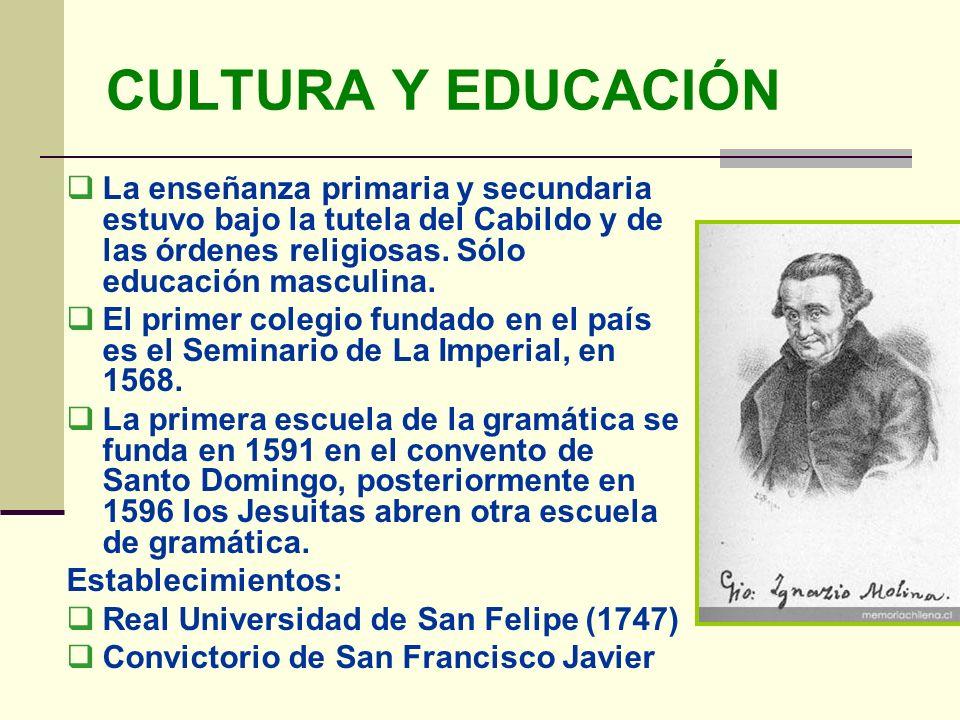 CULTURA Y EDUCACIÓN La enseñanza primaria y secundaria estuvo bajo la tutela del Cabildo y de las órdenes religiosas. Sólo educación masculina.