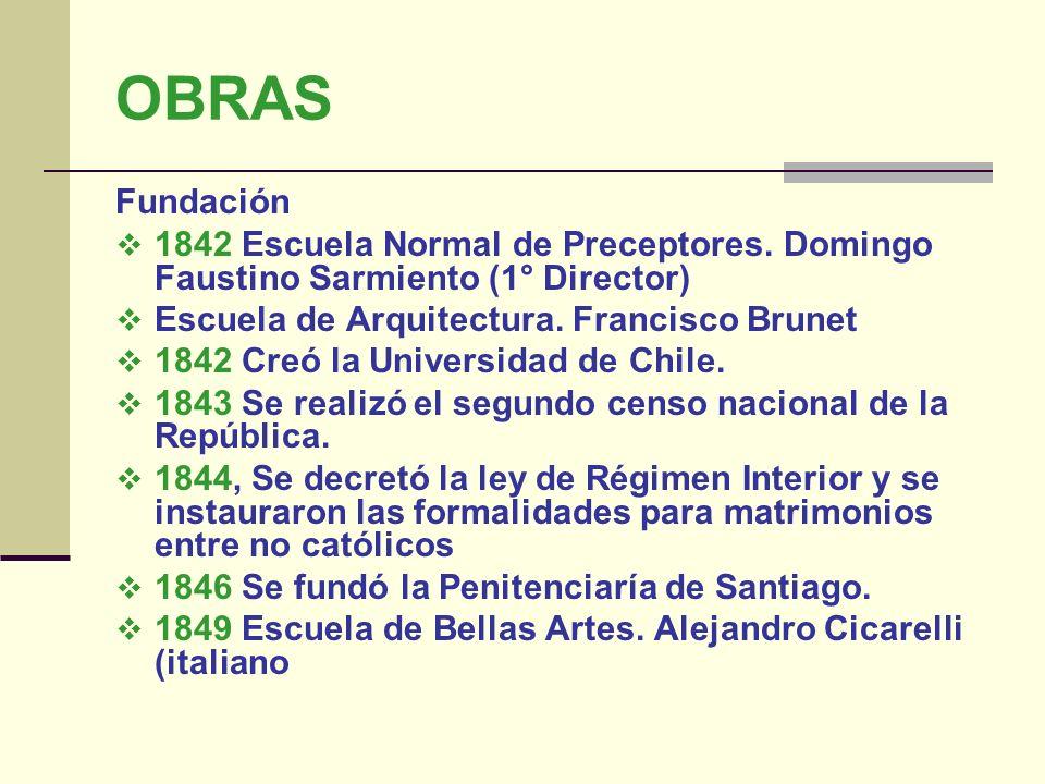 OBRAS Fundación. 1842 Escuela Normal de Preceptores. Domingo Faustino Sarmiento (1° Director) Escuela de Arquitectura. Francisco Brunet.