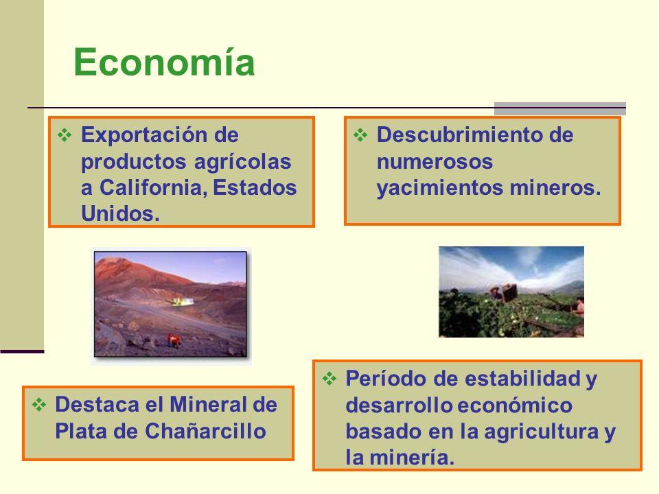 Economía Exportación de productos agrícolas a California, Estados Unidos. Descubrimiento de numerosos yacimientos mineros.
