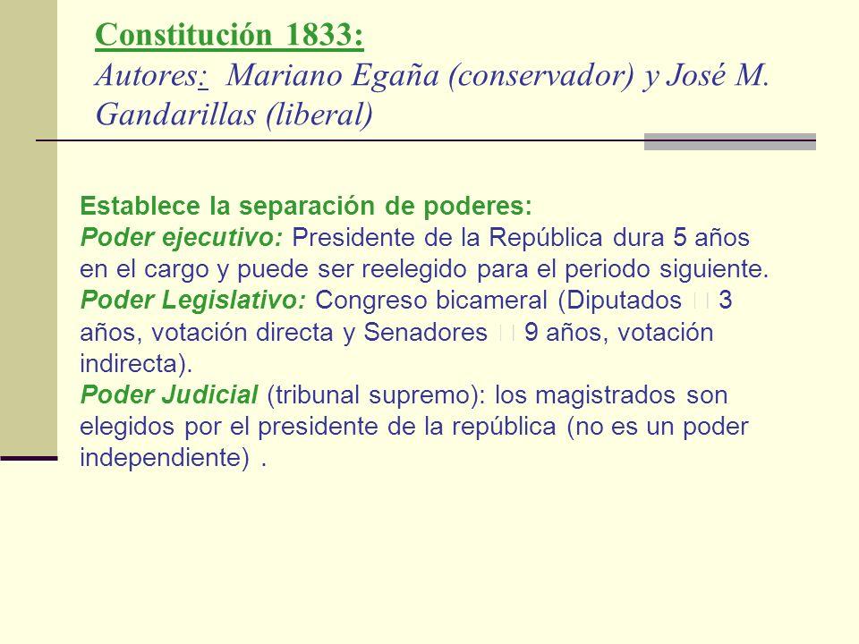 Constitución 1833: Autores: Mariano Egaña (conservador) y José M