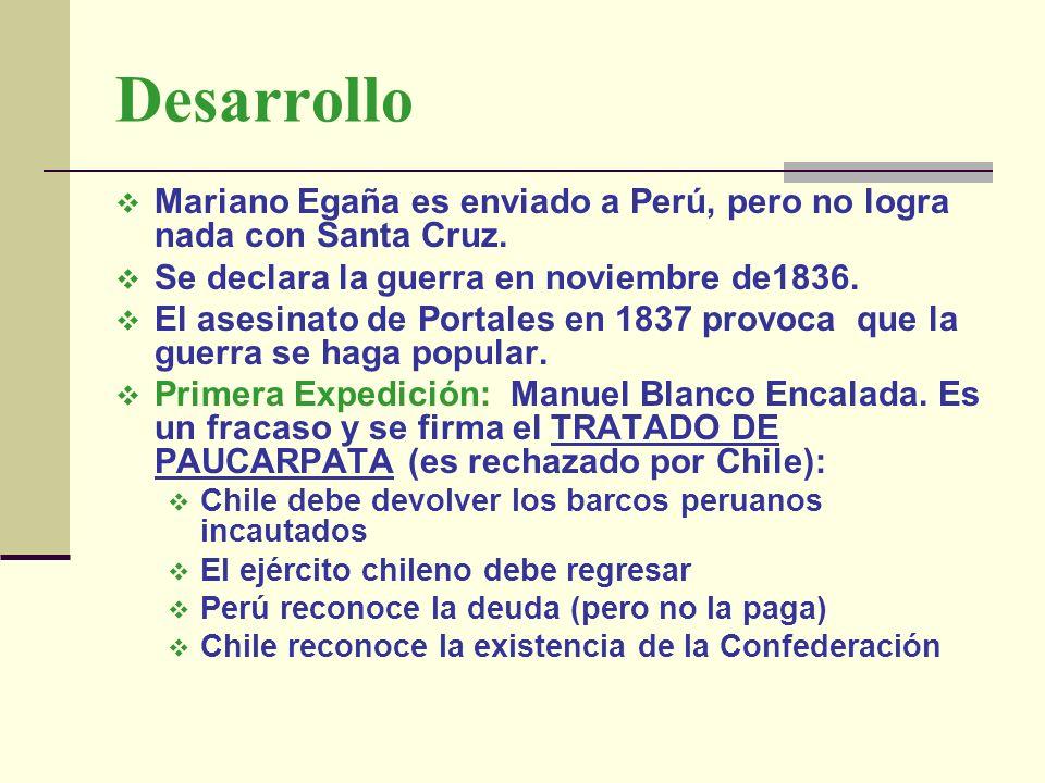 Desarrollo Mariano Egaña es enviado a Perú, pero no logra nada con Santa Cruz. Se declara la guerra en noviembre de1836.