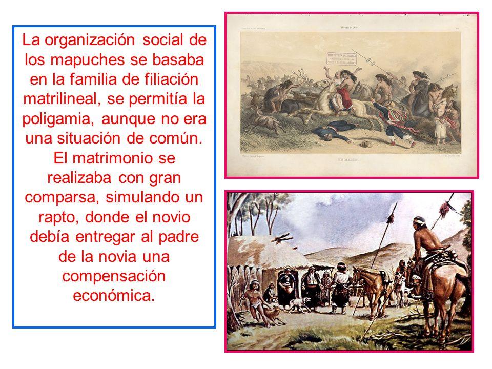 La organización social de los mapuches se basaba en la familia de filiación matrilineal, se permitía la poligamia, aunque no era una situación de común.