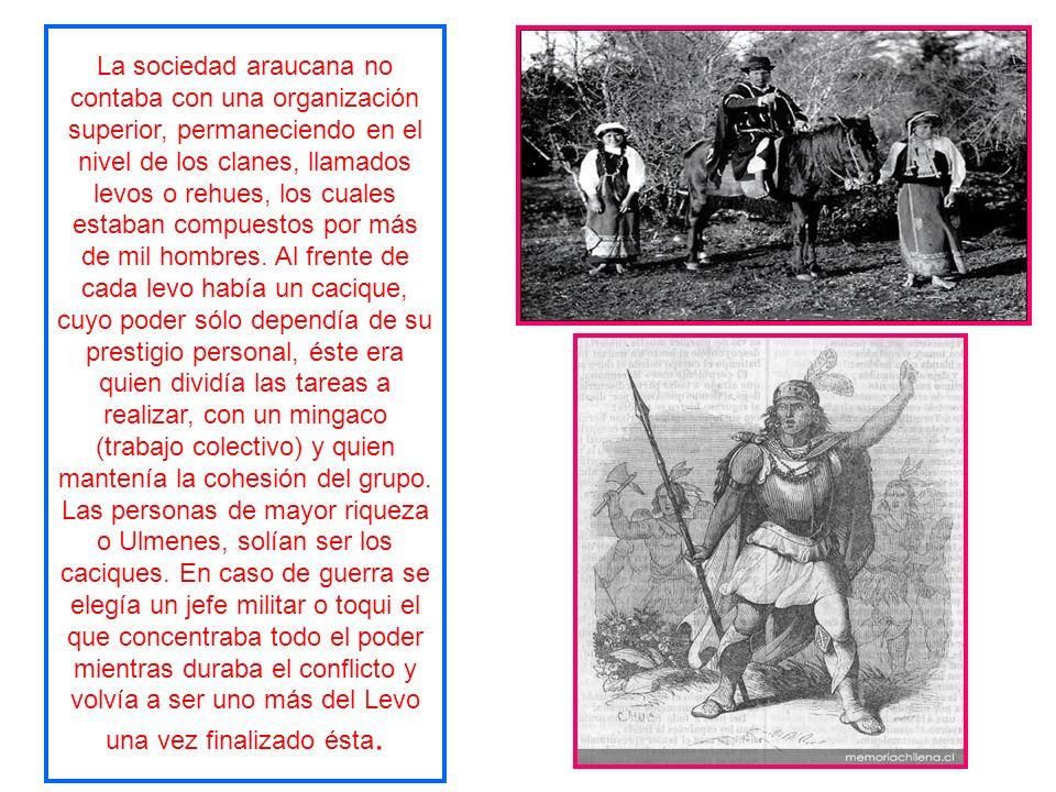 La sociedad araucana no contaba con una organización superior, permaneciendo en el nivel de los clanes, llamados levos o rehues, los cuales estaban compuestos por más de mil hombres.