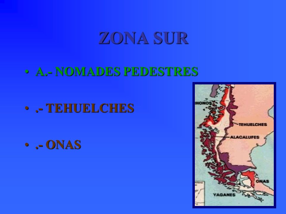 ZONA SUR A.- NOMADES PEDESTRES .- TEHUELCHES .- ONAS