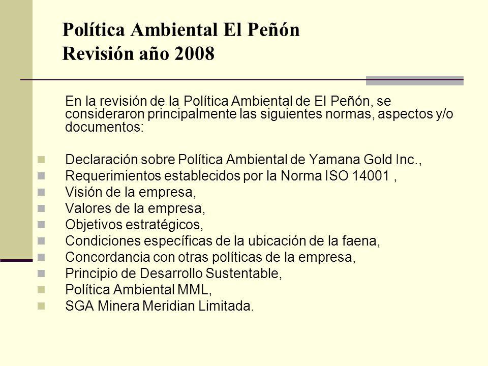 Política Ambiental El Peñón Revisión año 2008