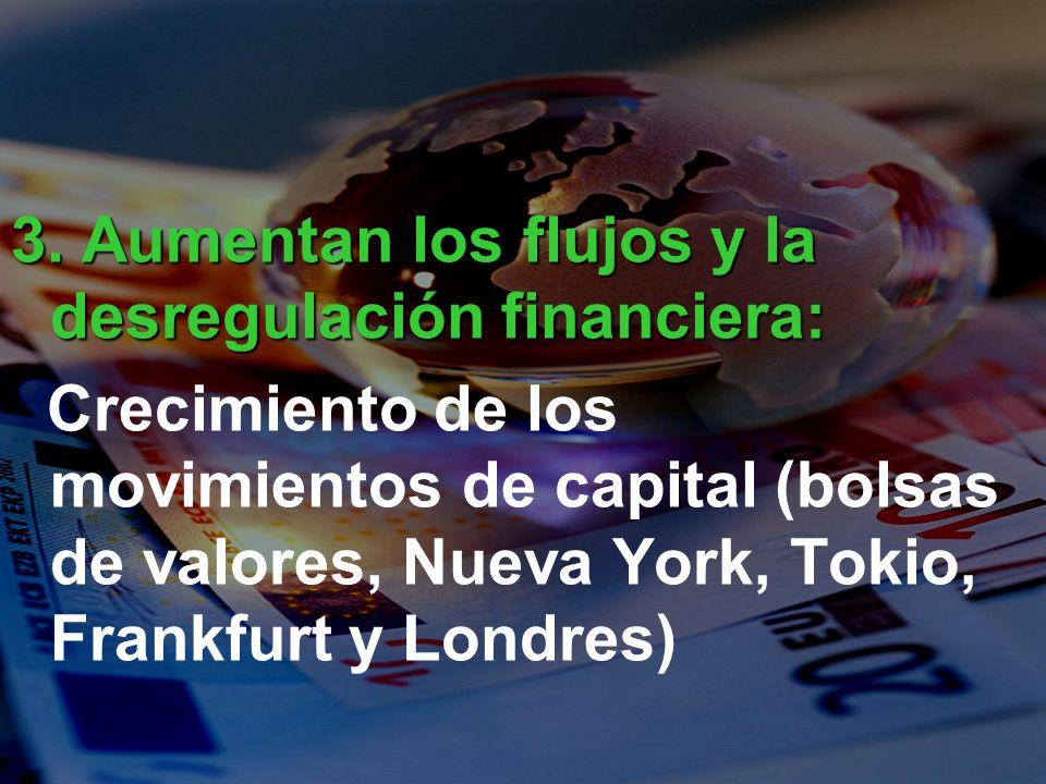 3. Aumentan los flujos y la desregulación financiera: