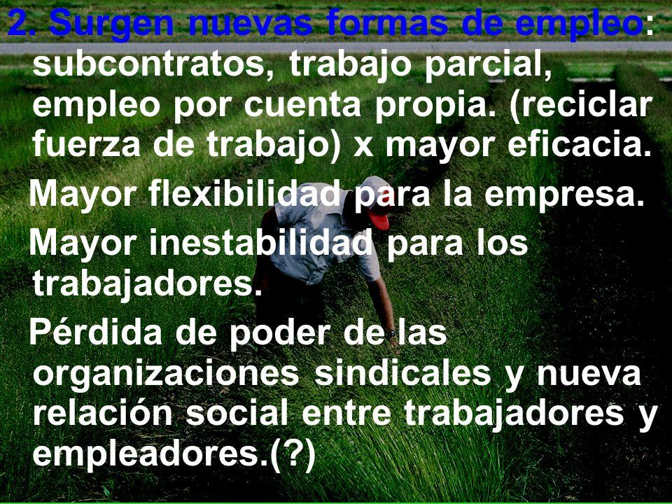 2. Surgen nuevas formas de empleo: subcontratos, trabajo parcial, empleo por cuenta propia. (reciclar fuerza de trabajo) x mayor eficacia.