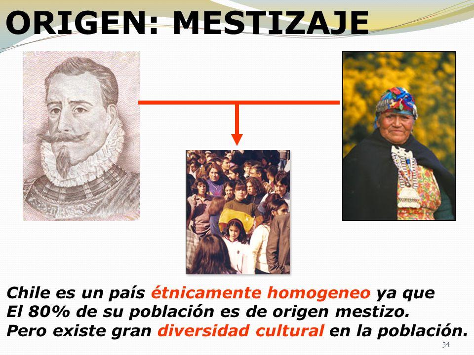 ORIGEN: MESTIZAJE Chile es un país étnicamente homogeneo ya que