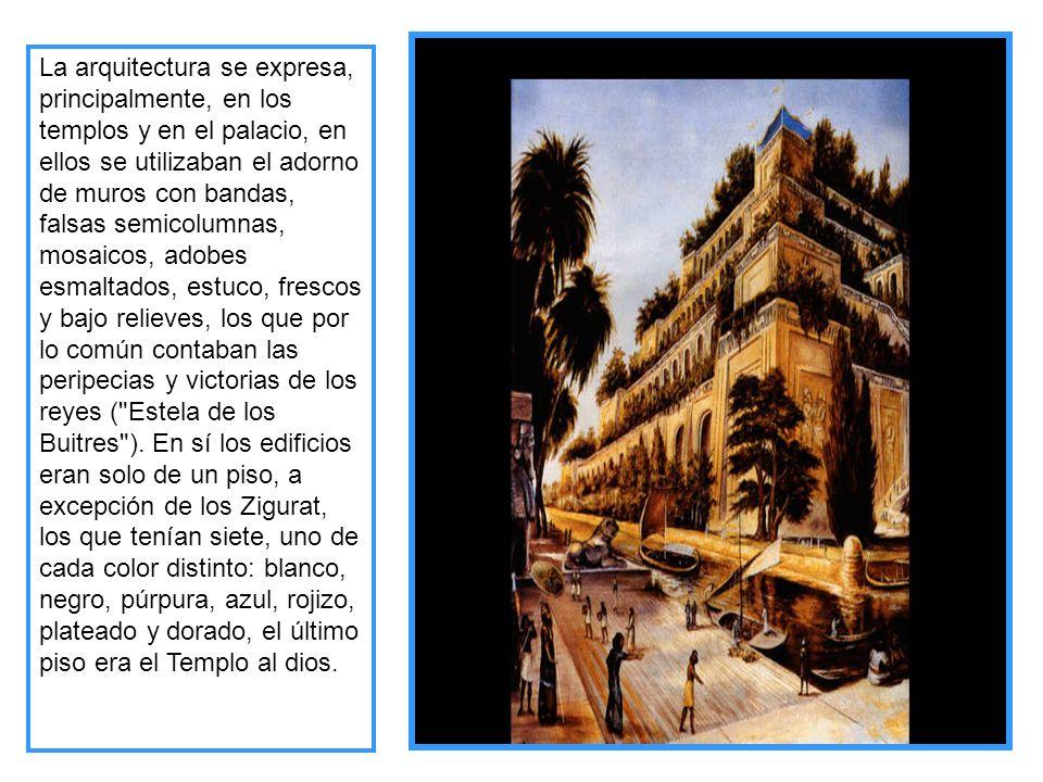 La arquitectura se expresa, principalmente, en los templos y en el palacio, en ellos se utilizaban el adorno de muros con bandas, falsas semicolumnas, mosaicos, adobes esmaltados, estuco, frescos y bajo relieves, los que por lo común contaban las peripecias y victorias de los reyes ( Estela de los Buitres ).