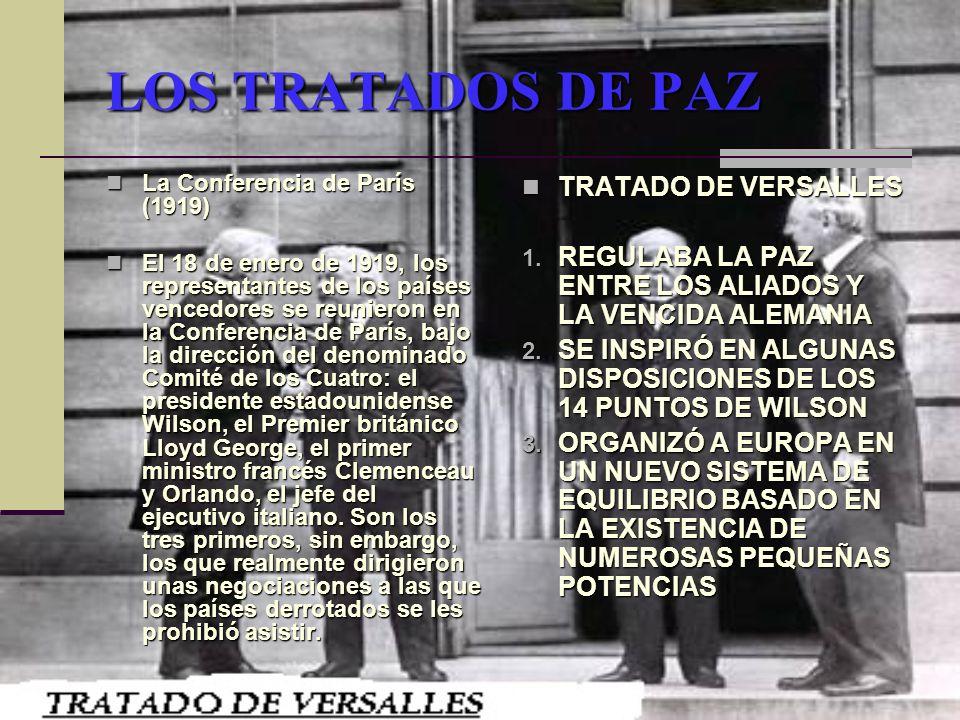 LOS TRATADOS DE PAZ TRATADO DE VERSALLES