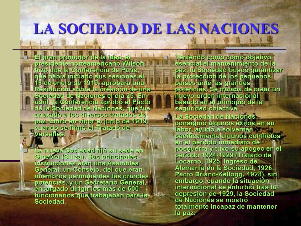 LA SOCIEDAD DE LAS NACIONES