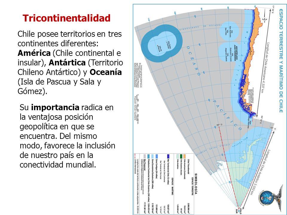 Tricontinentalidad Chile posee territorios en tres continentes diferentes: