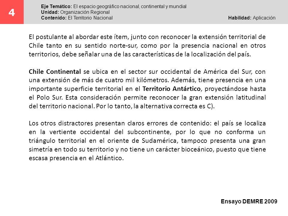 4Eje Temático: El espacio geográfico nacional, continental y mundial. Unidad: Organización Regional.