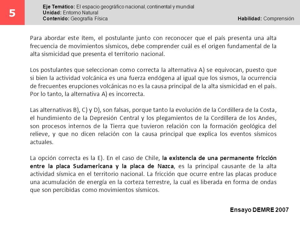 5 Eje Temático: El espacio geográfico nacional, continental y mundial. Unidad: Entorno Natural.