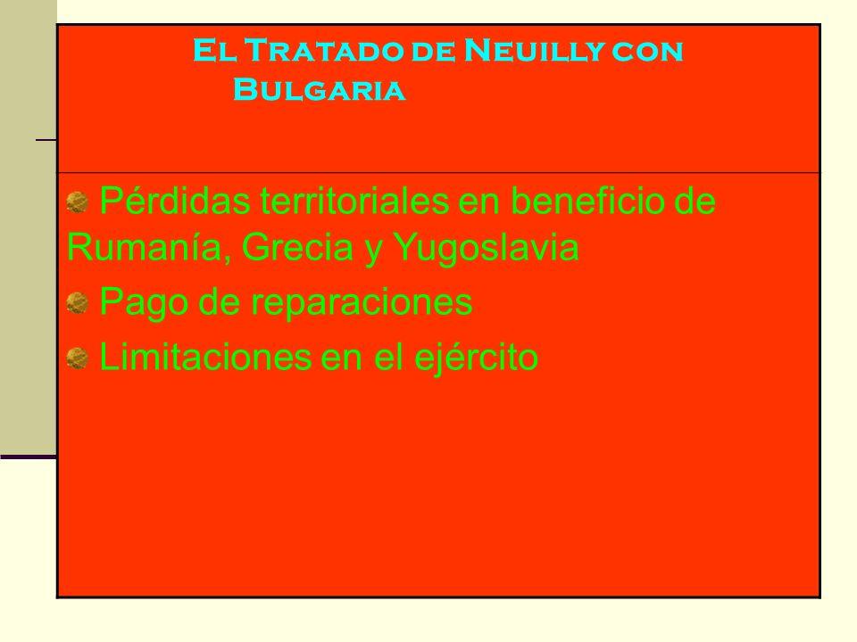 El Tratado de Neuilly con Bulgaria