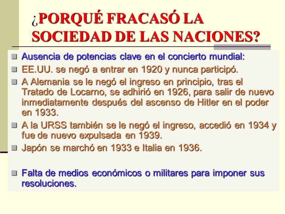 ¿PORQUÉ FRACASÓ LA SOCIEDAD DE LAS NACIONES