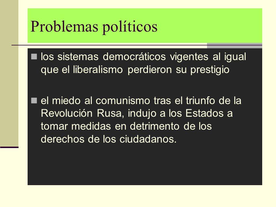 Problemas políticoslos sistemas democráticos vigentes al igual que el liberalismo perdieron su prestigio.