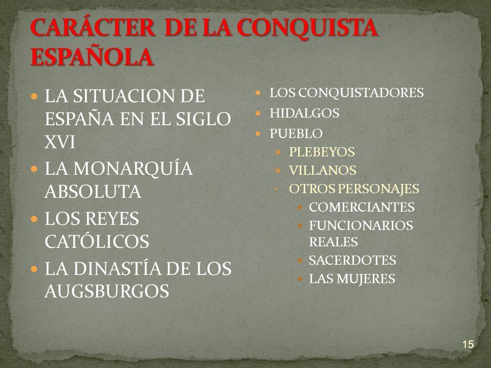 CARÁCTER DE LA CONQUISTA ESPAÑOLA