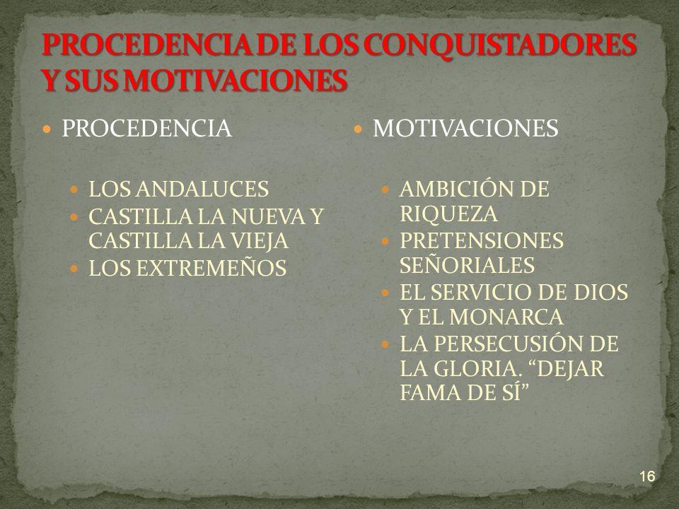 PROCEDENCIA DE LOS CONQUISTADORES Y SUS MOTIVACIONES