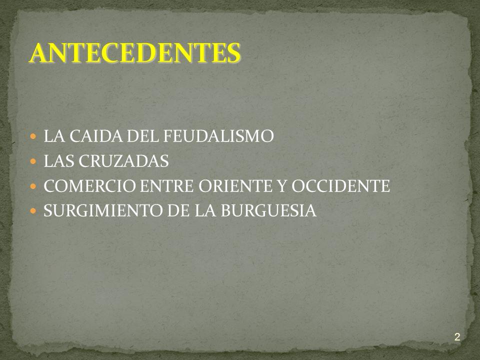 ANTECEDENTES LA CAIDA DEL FEUDALISMO LAS CRUZADAS