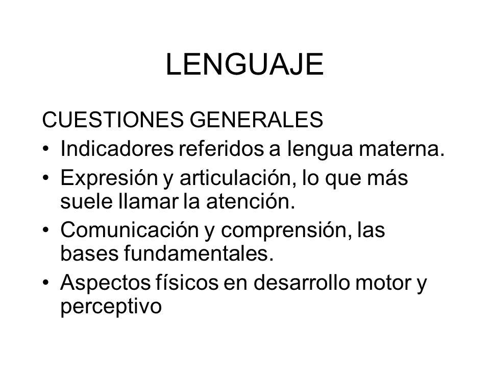 LENGUAJE CUESTIONES GENERALES Indicadores referidos a lengua materna.